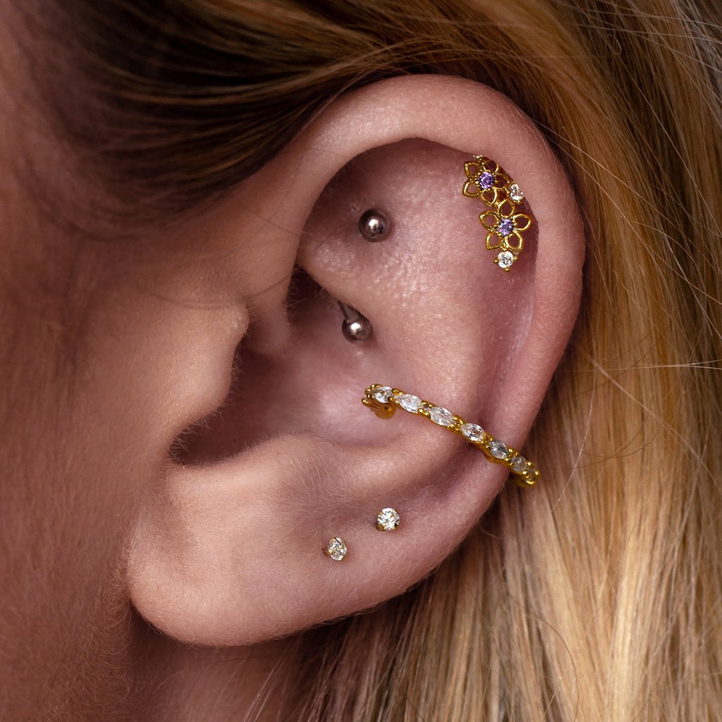 Leyla Cuff Helix & Cartilage Ear Piercing on model - gold