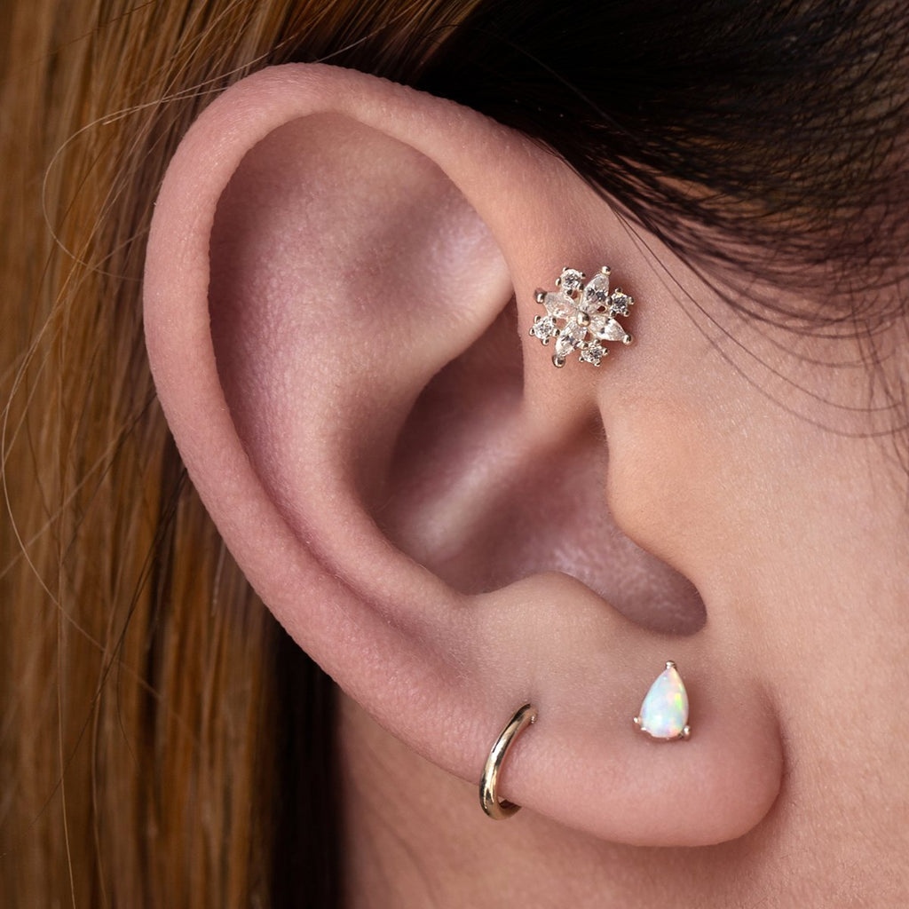 Midsummer Gemstone Tragus Helix & Conch Piercing on model - silver