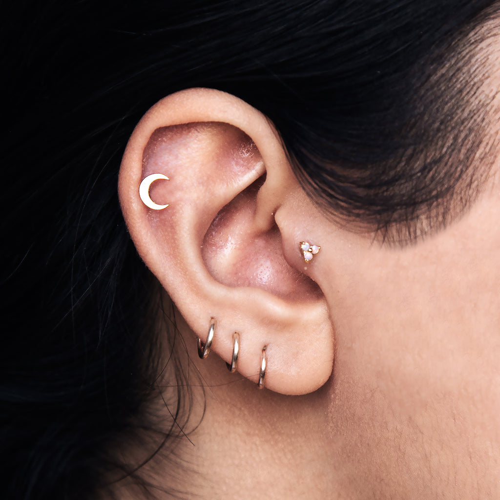 Moon Tragus Helix & Conch Ear Piercing on model - 14kt gold