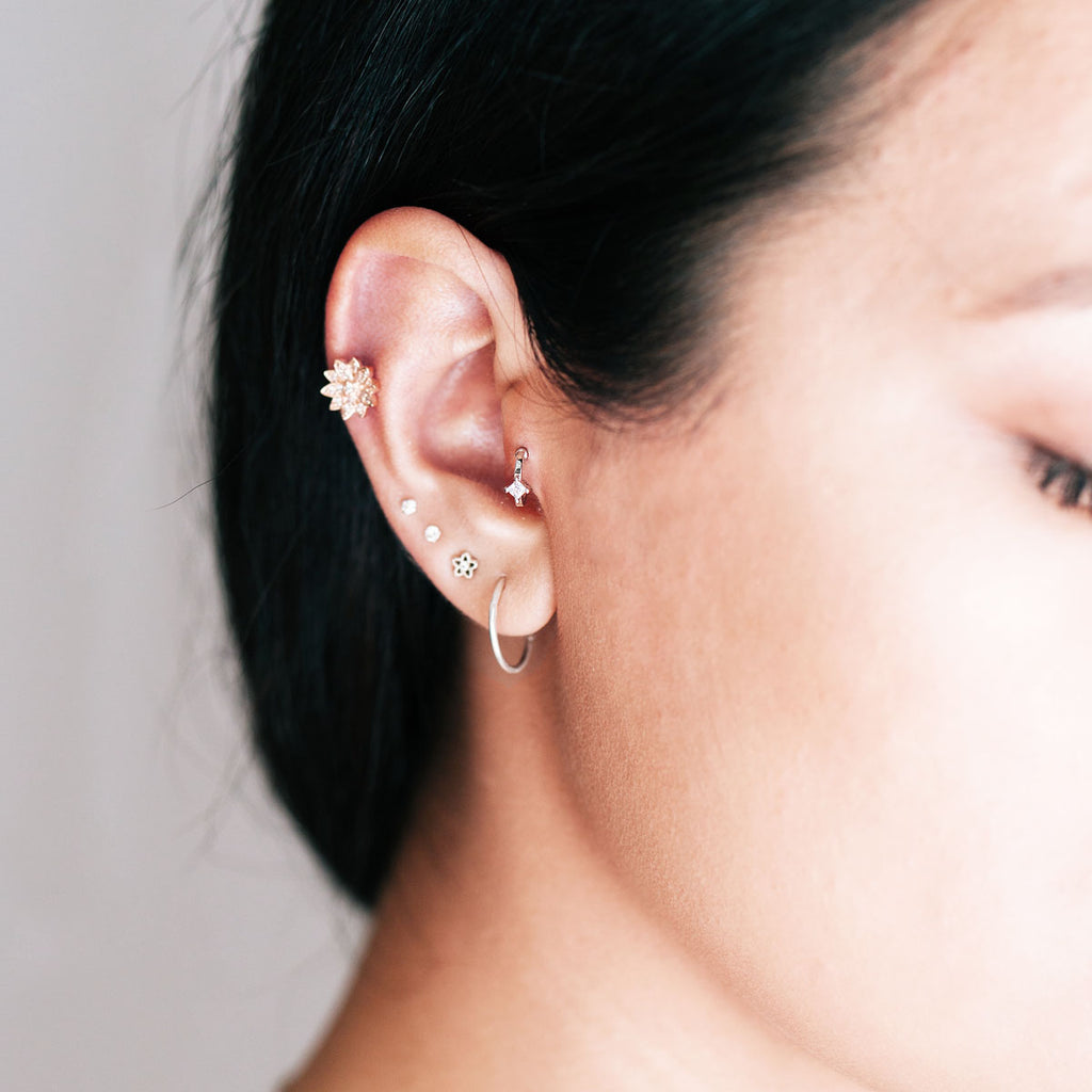 Obsession Crystal Tragus & Helix Piercing on model - silver