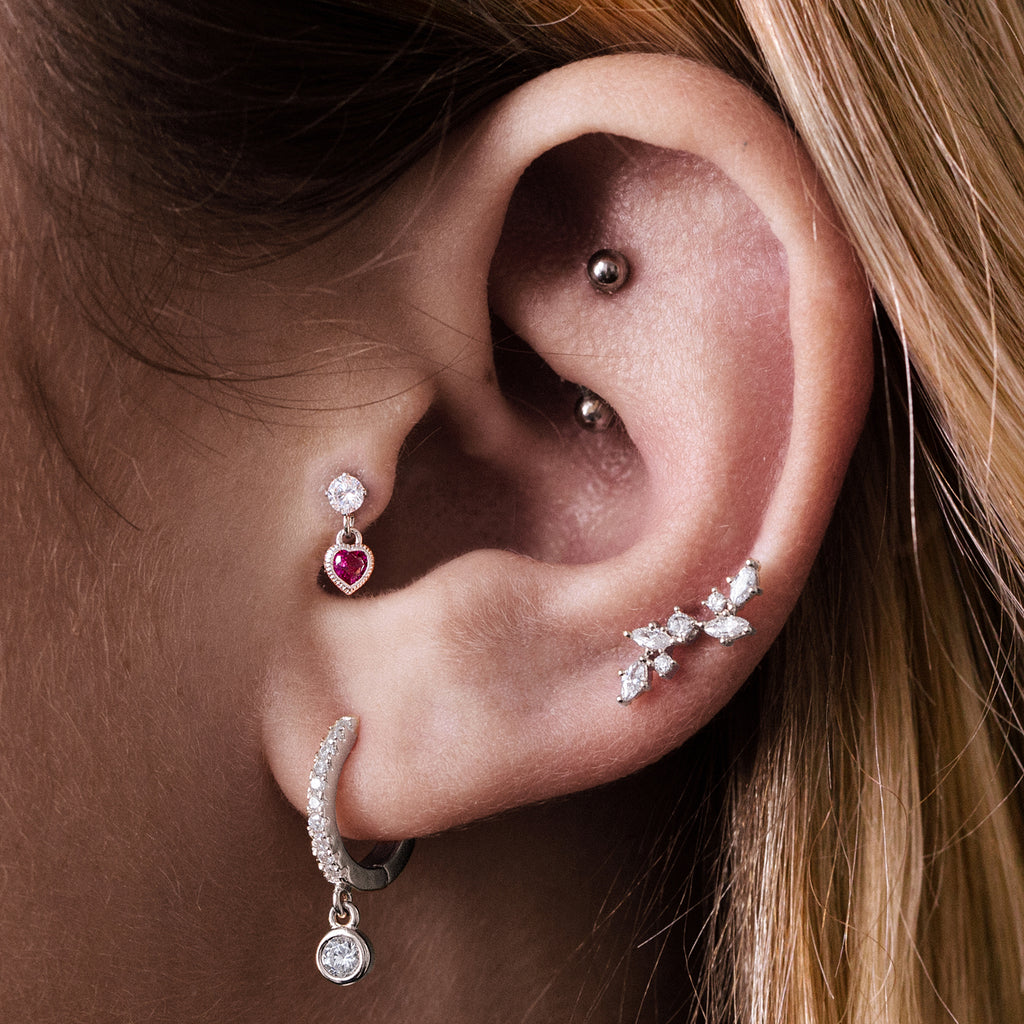 Passion Heart Charm Helix & Cartilage Piercing on model - garnet