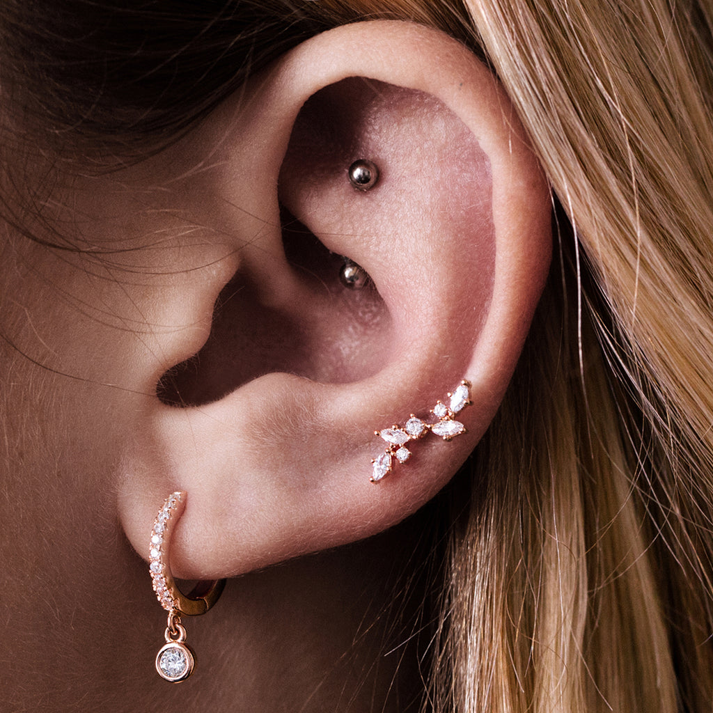 Blossom Gemstone Tragus Helix & Conch Ear Piercing on model - rose gold