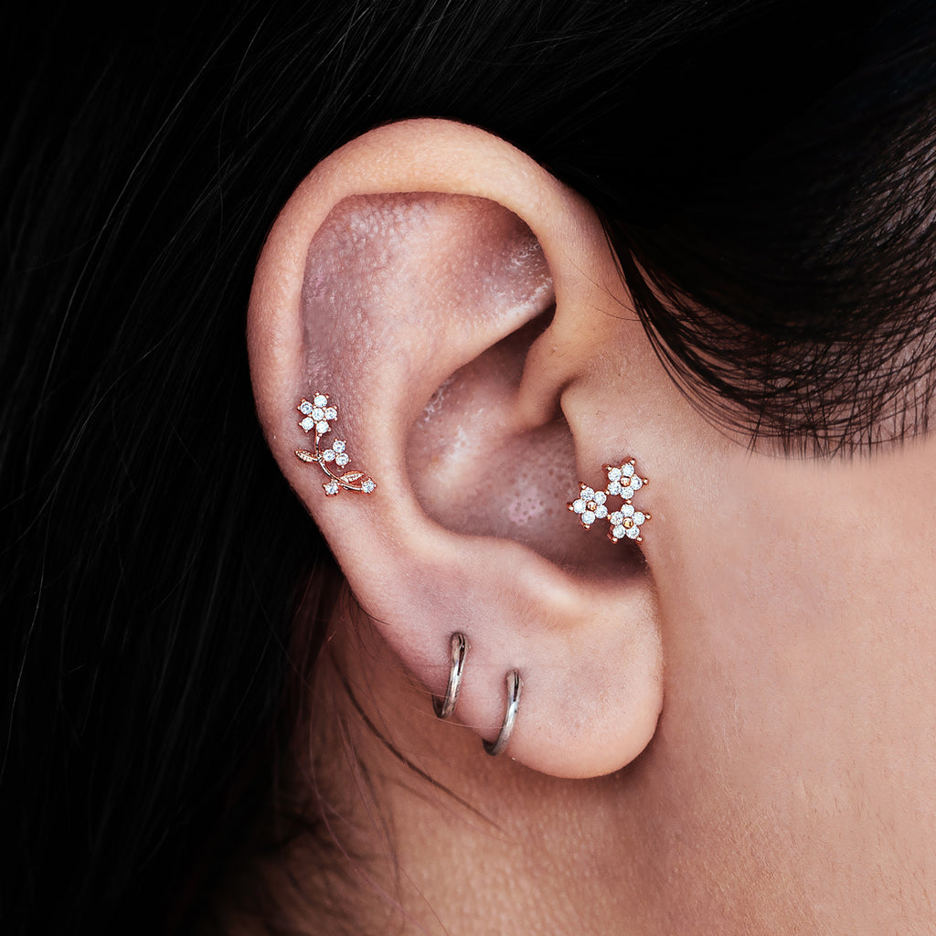 Roses Gem Tragus Helix & Conch Ear Piercing on model - rose gold