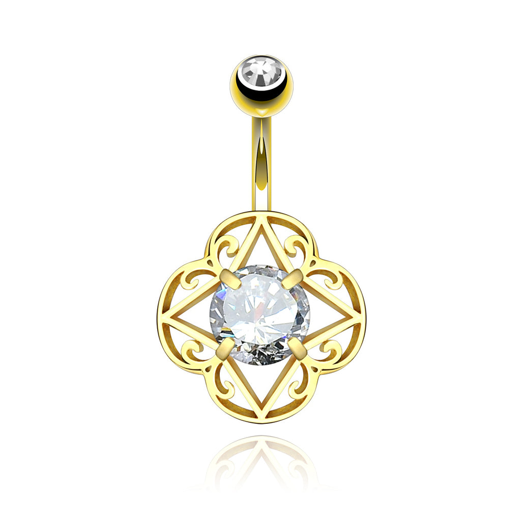 Sanctum Filigree Gem Belly Button Piercing - gold