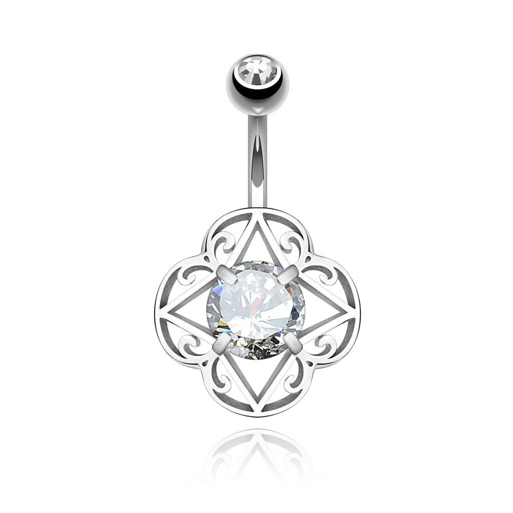 Sanctum Filigree Gem Belly Button Piercing - silver