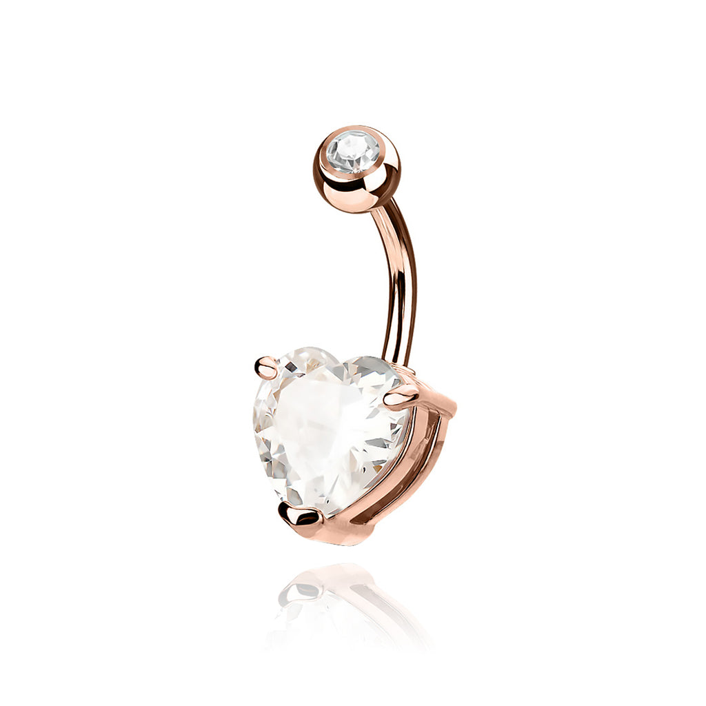 Solace Heart Gem Belly Bar - rose gold