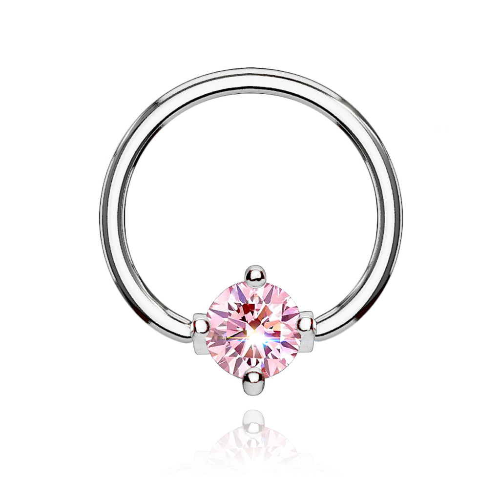 Solitaire Gem Hoop Ear Piercing - pink