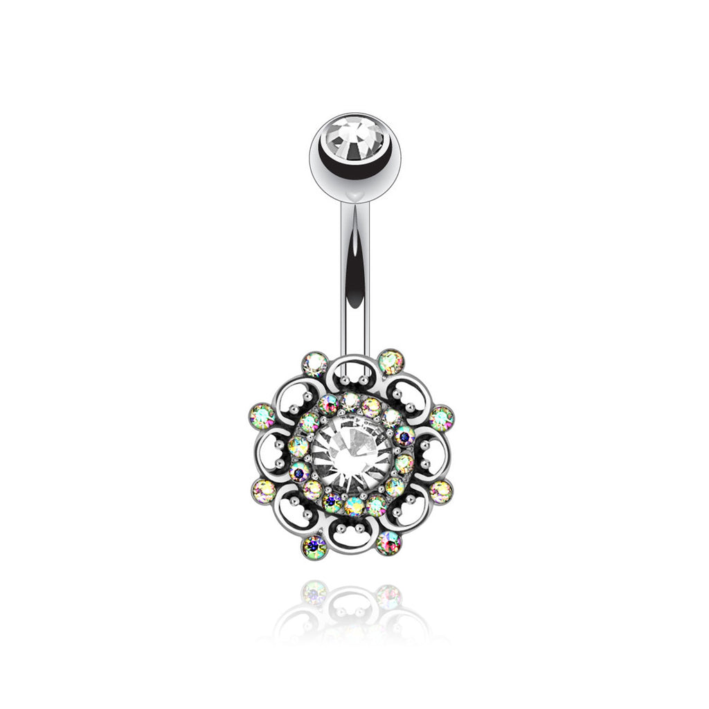 Mandala Gemstone Belly Bar - silver