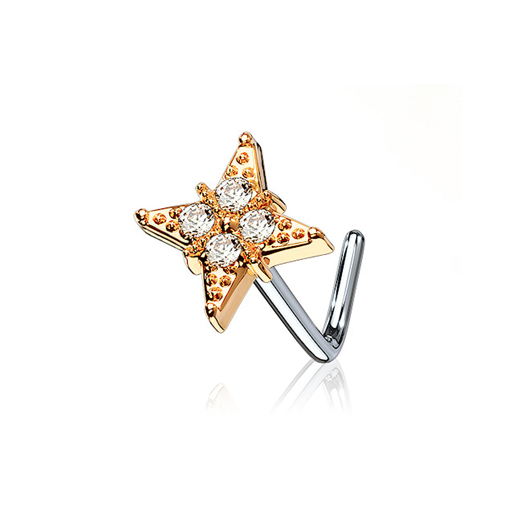 Vlora Flower Gem Nose Stud - rose gold