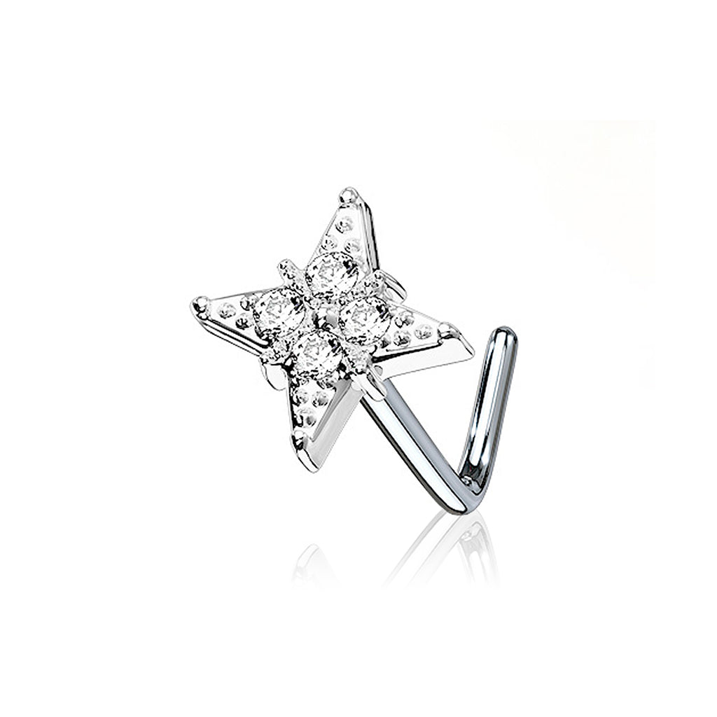 Vlora Flower Gem Nose Stud - silver