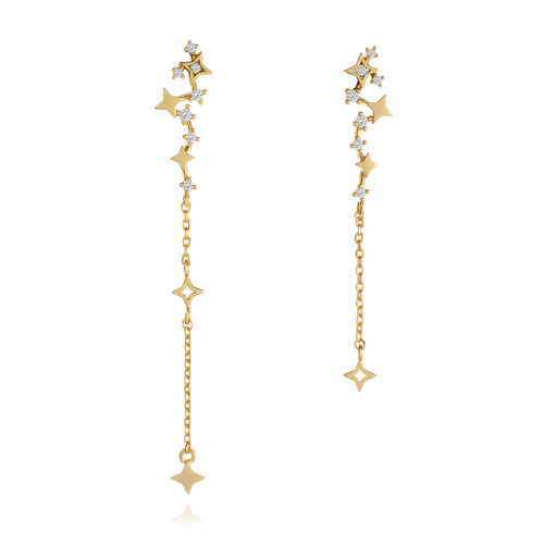 Aries Star Chain Earrings - gold