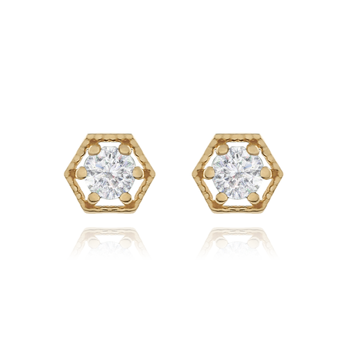 Citadel Stud Earrings Crystal - gold