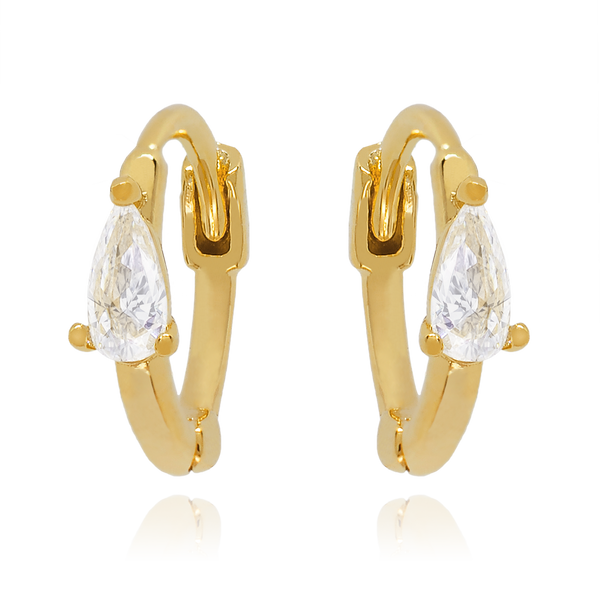 Elixir Teardrop Gem Huggie Earrings on model - gold