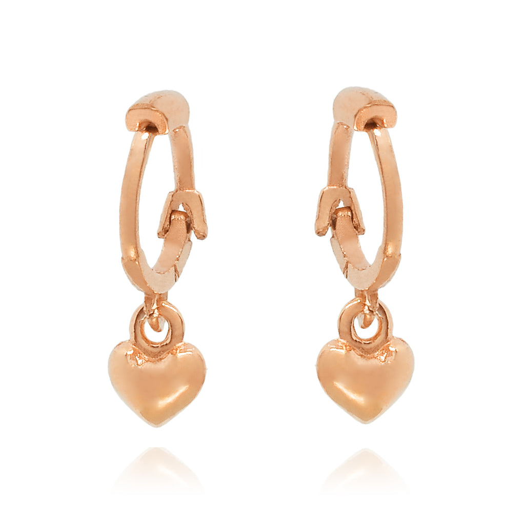 Lonely Hearts Huggie Earrings - rose gold