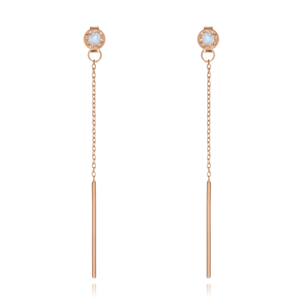 Lucent Chain Moonstone Earrings - rose gold