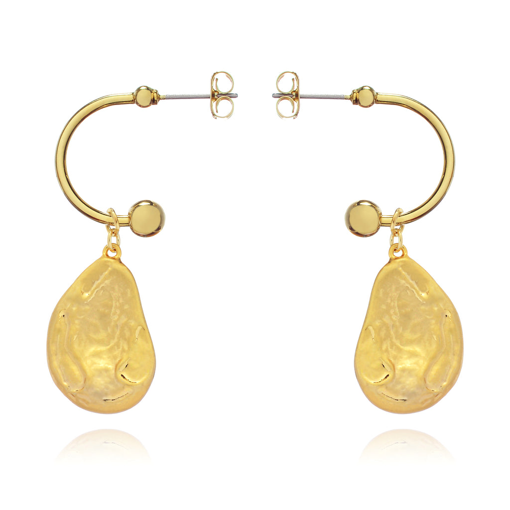 Rina Earrings side view - gold