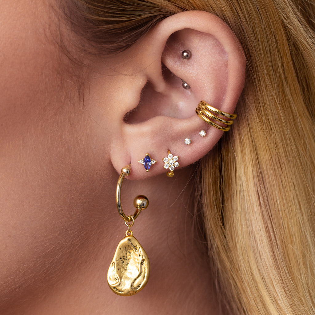 Rini Triple Band Ear Cuff on model 2 - gold