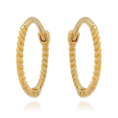 Rope Huggie Hoop Earrings - gold