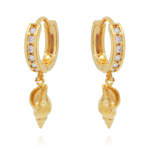 Shelby Seashell Huggie Earrings - gold