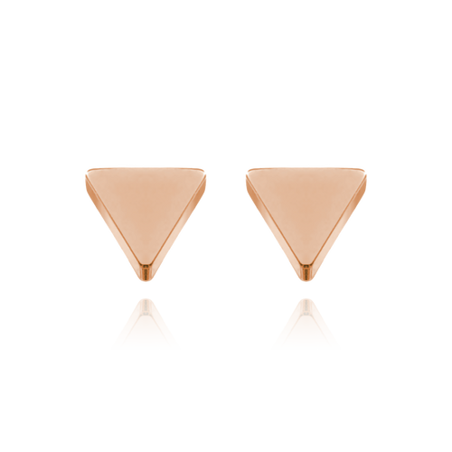 Solid Triangle Studs - rose gold