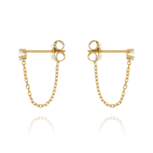 Solitaire Chain Earrings side view - gold