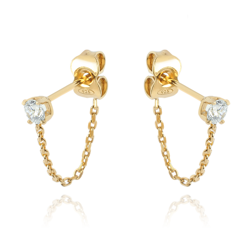 Solitaire Chain Earrings - gold