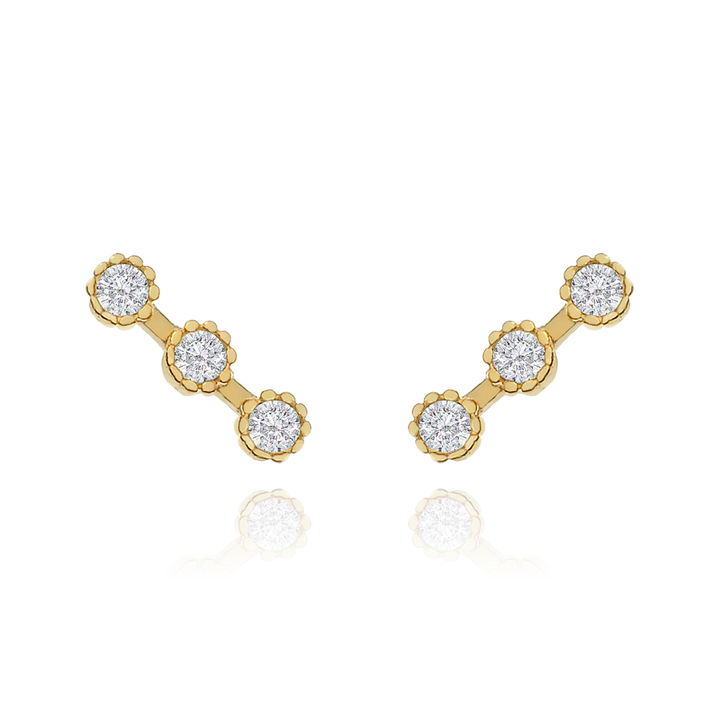 Triple Gem Stud Earrings - gold