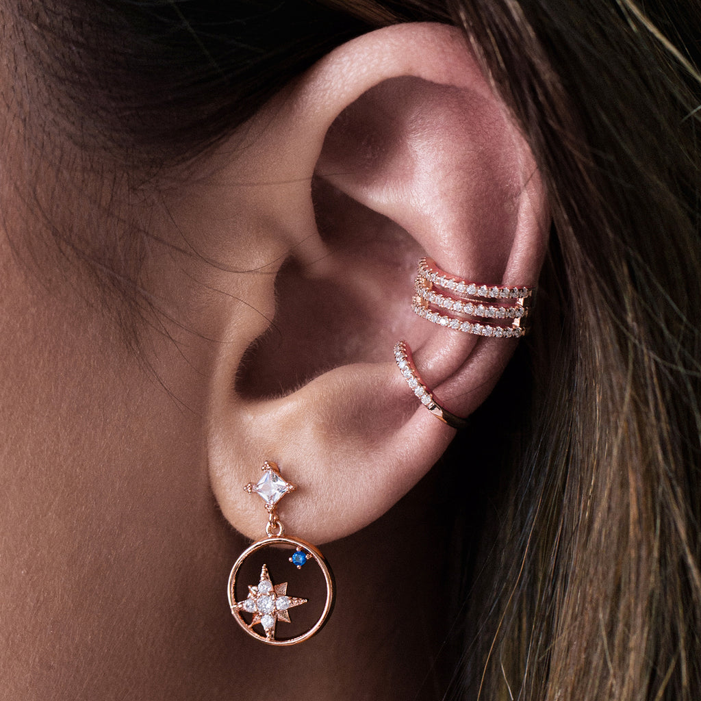 Aion Star Gem Earrings on model - rose gold