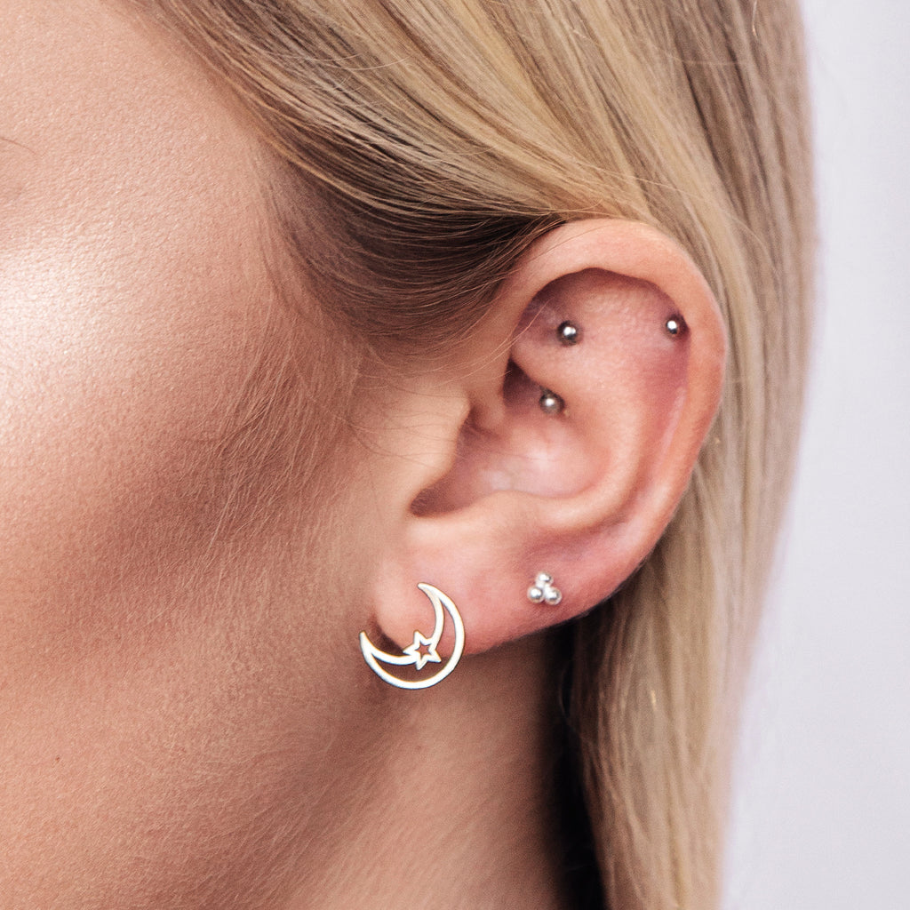 Lunar Ray Studs - Rose Gold