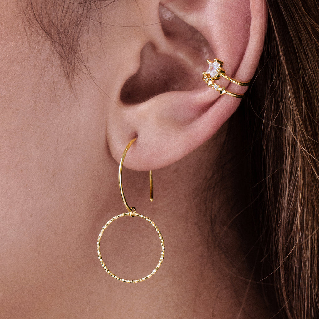 Contour Hoop Earrings on model - gold