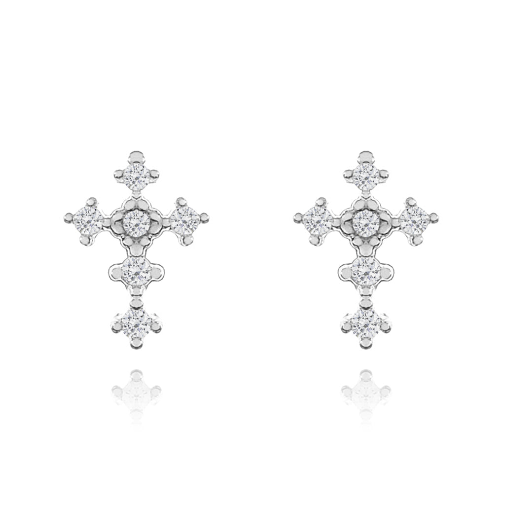 Diamonte Cross Stud Earrings - silver