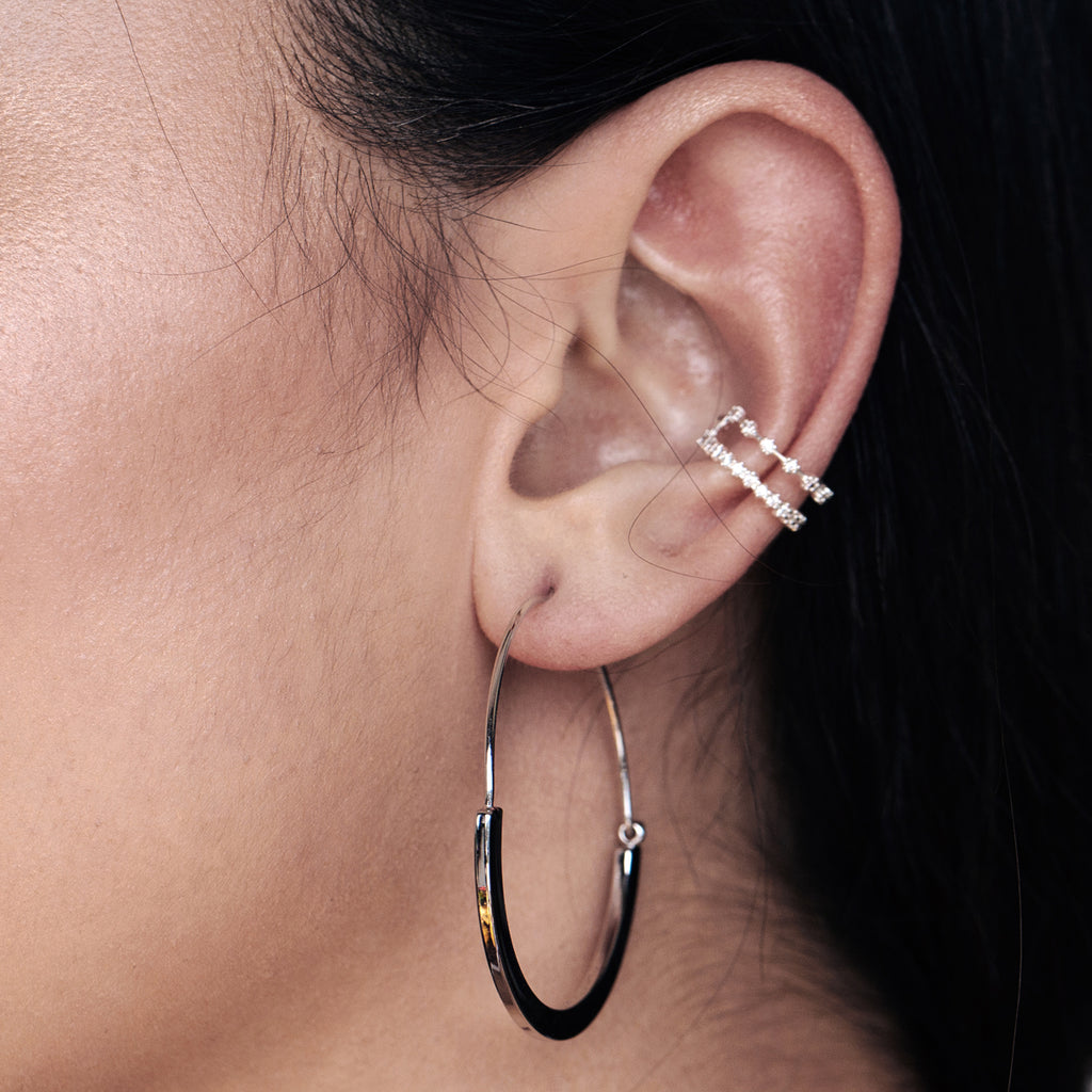 Endless Hoop Earrings on model - silver