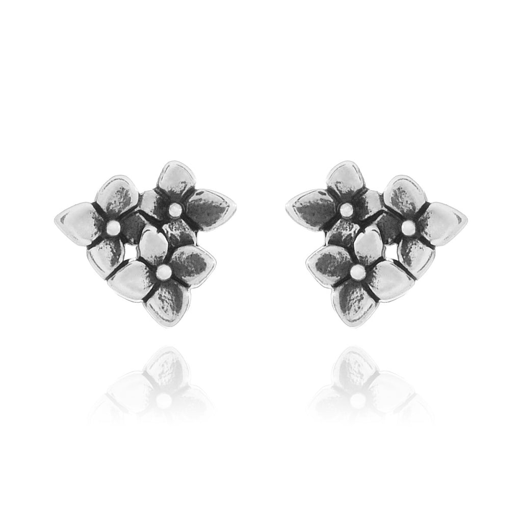 Flower Bomb Stud Earrings - sterling silver