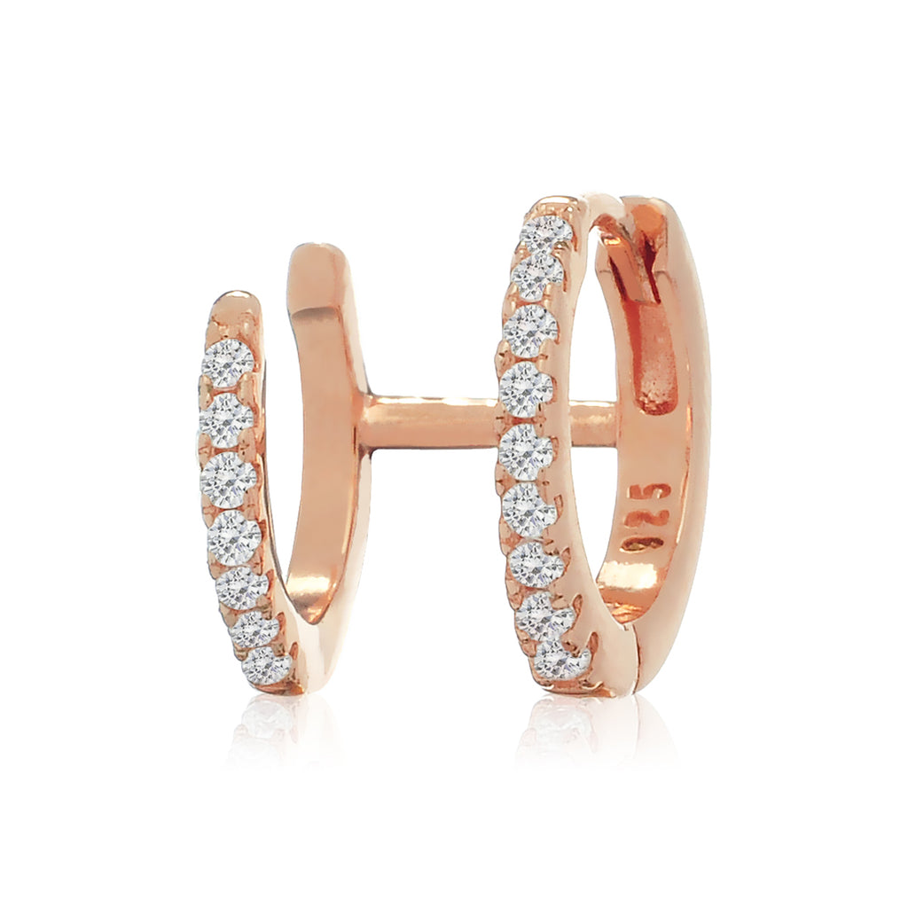 Gemini Huggie Hoop Earrings - rose gold