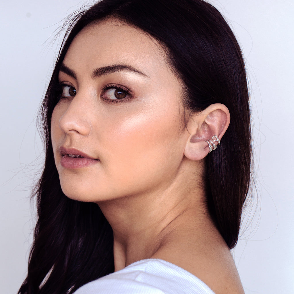 Helix Gem Ear Cuff on model 2 - silver