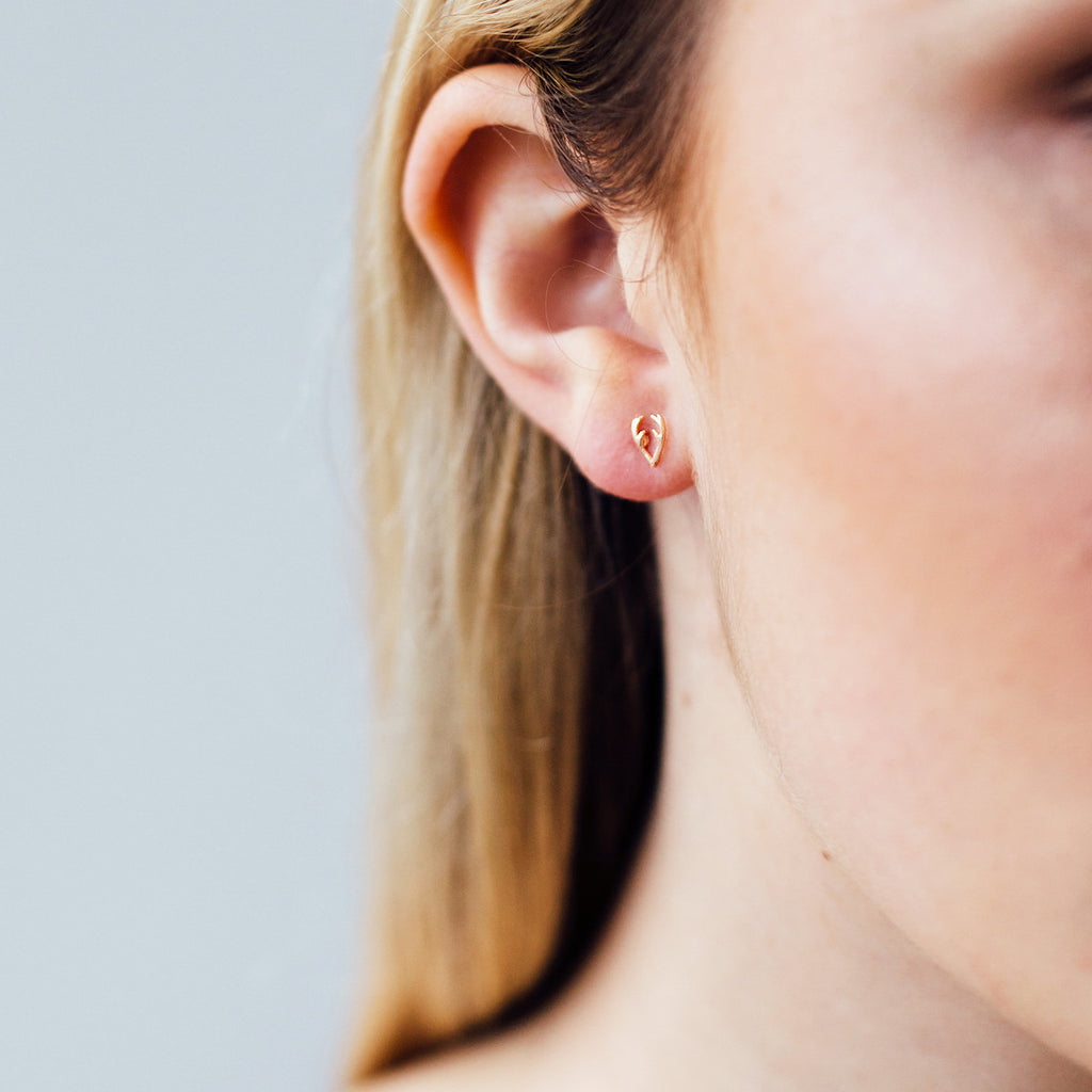 Antler Stud Earrings on model - rose gold