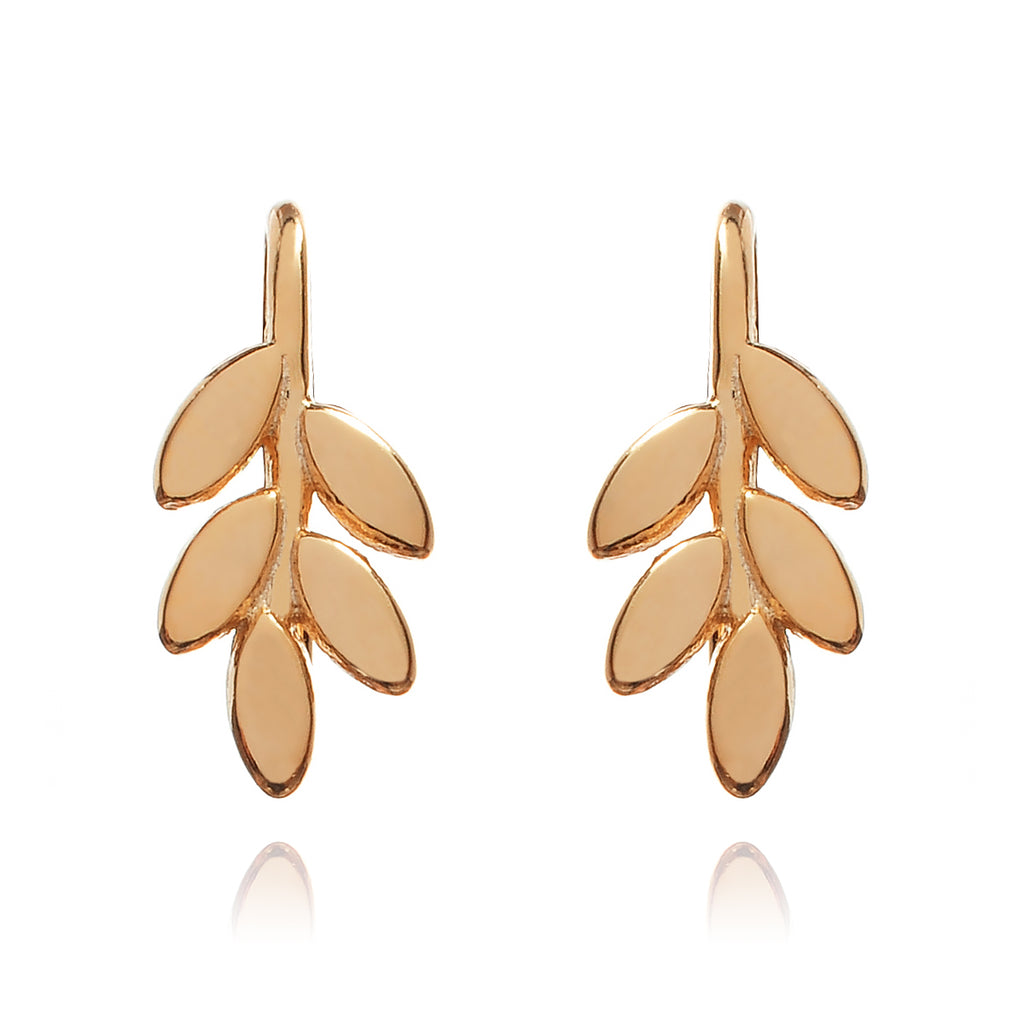 Jasmine Floral Climber Earrings front view - rose gold