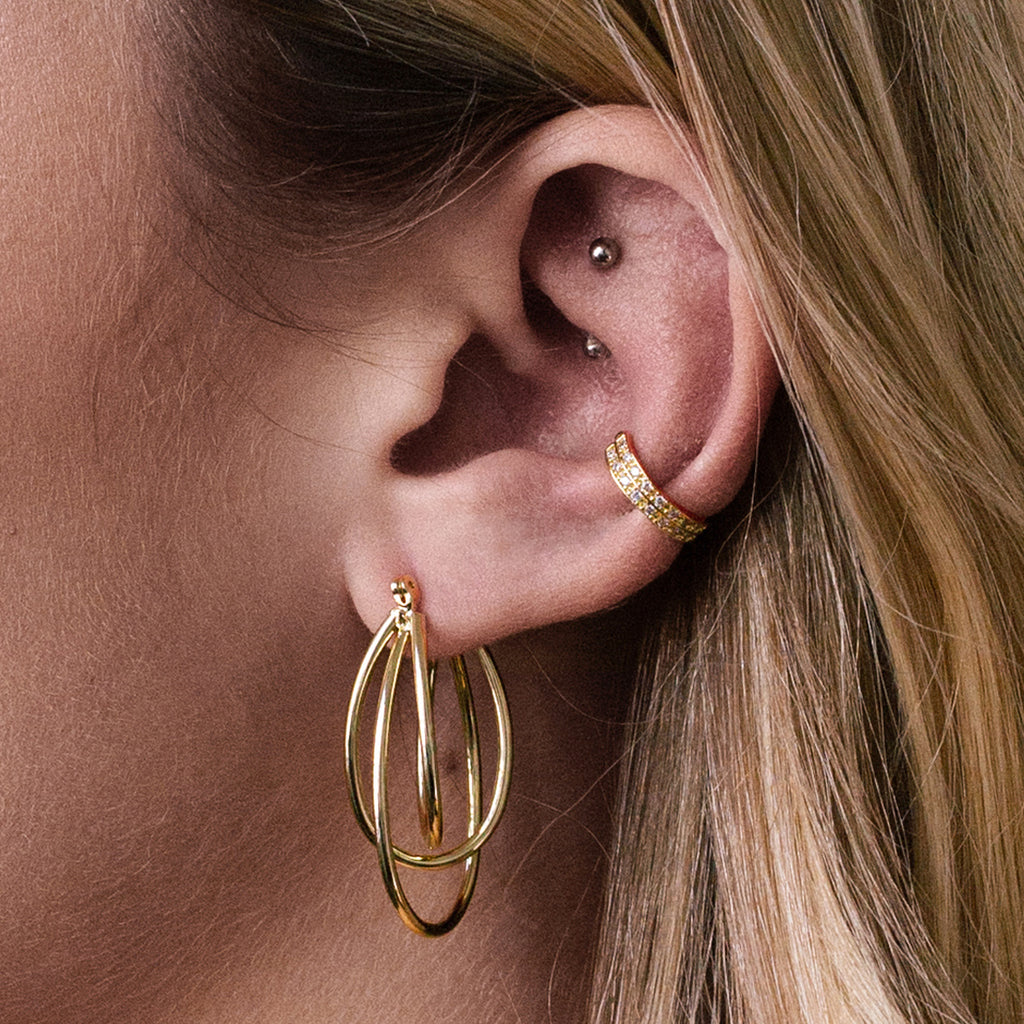 Laser Earrings on model - gold