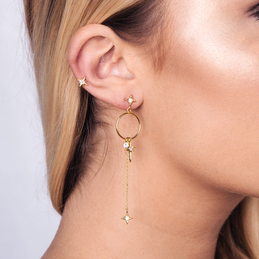 Lost Star Hoop Earrings on model - gold