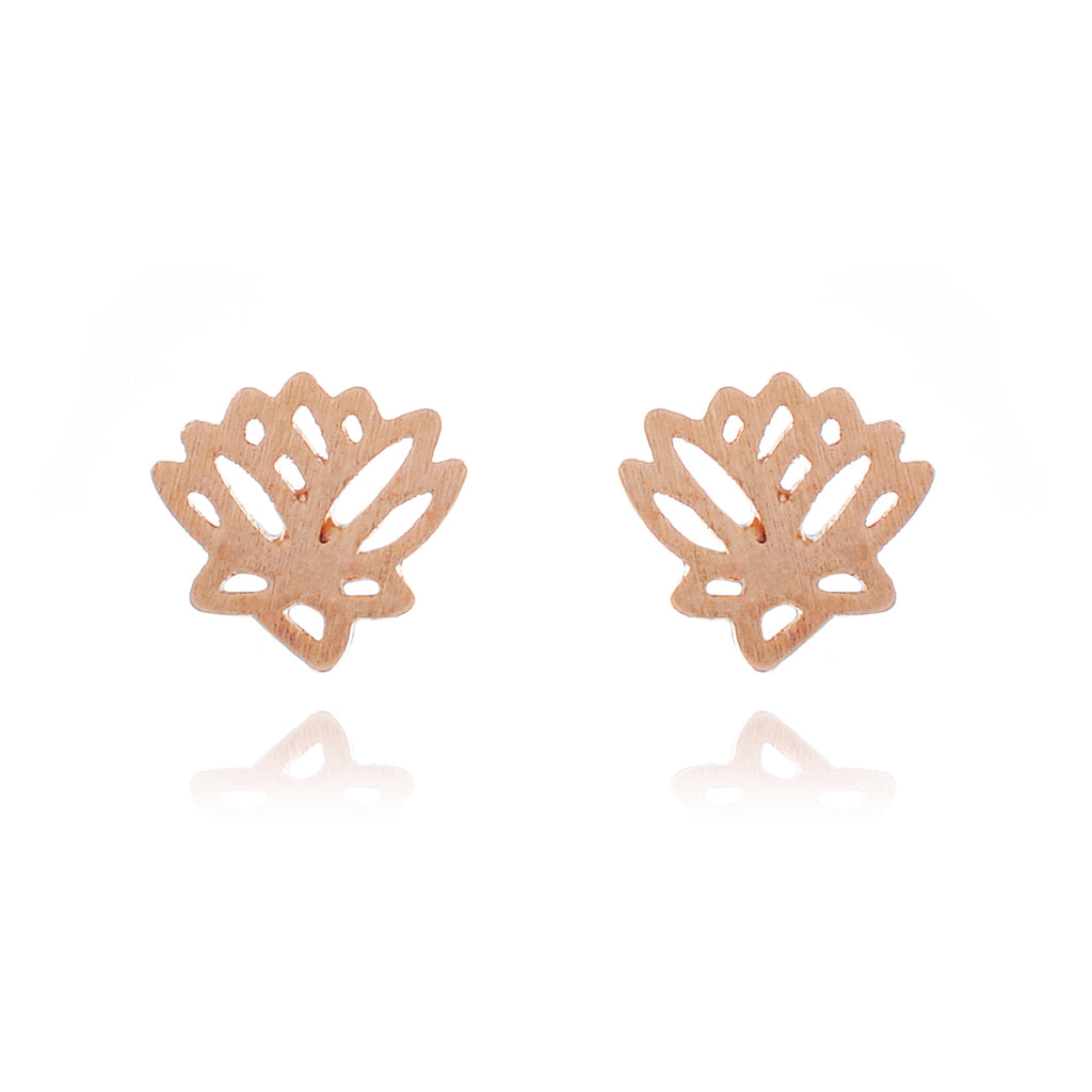 Lotus Stud Earrings - rose gold