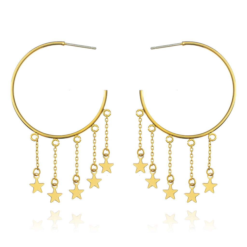 Meteor Shower Star Hoop Earrings - gold