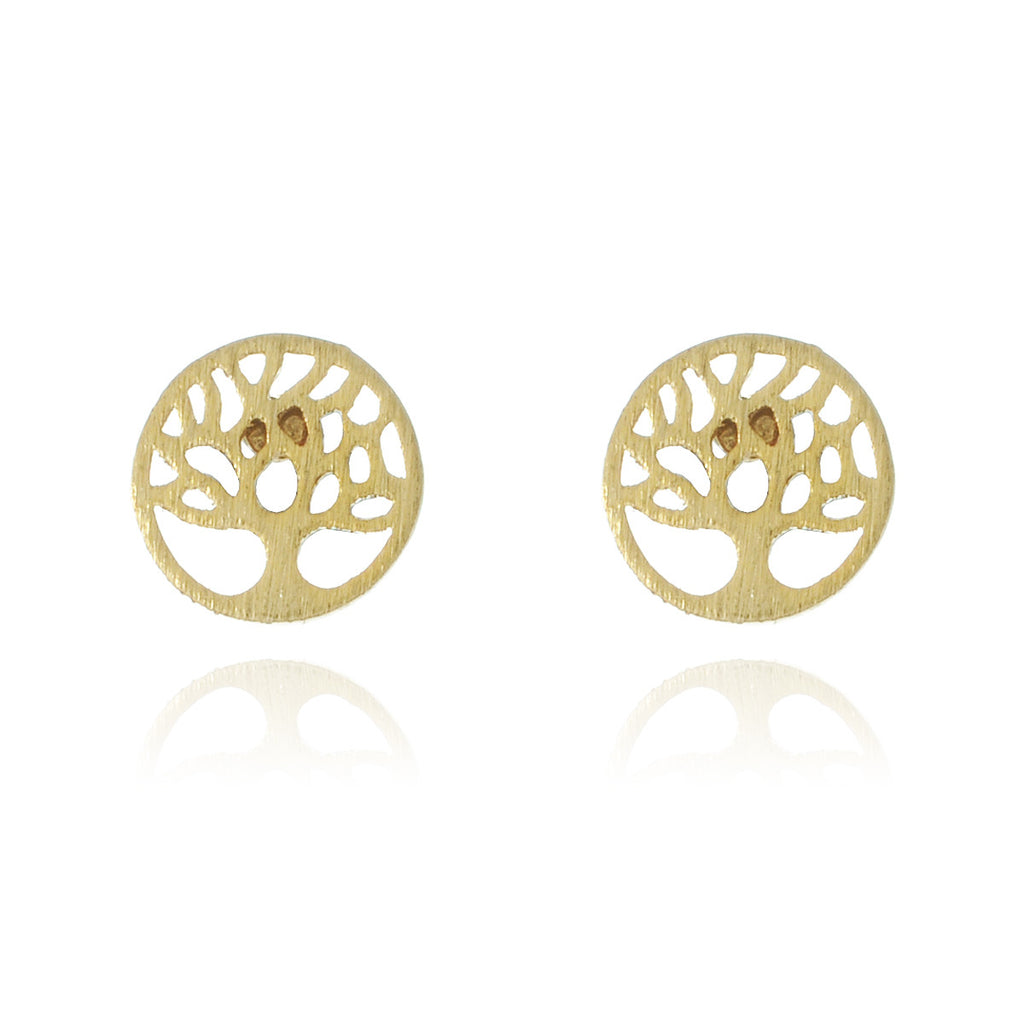 Mini Tree of Life Stud Earrings - gold