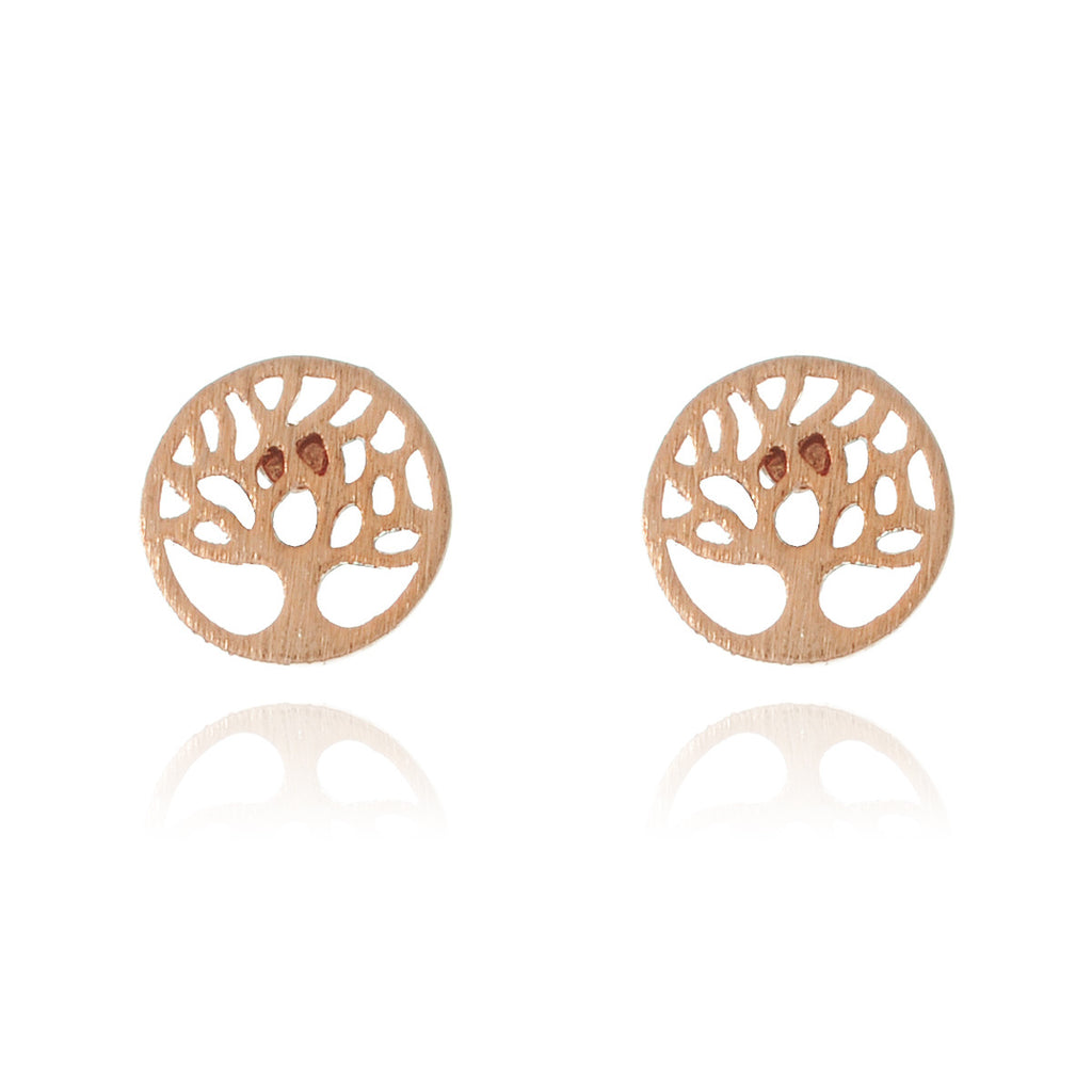 Mini Tree of Life Stud Earrings - rose gold