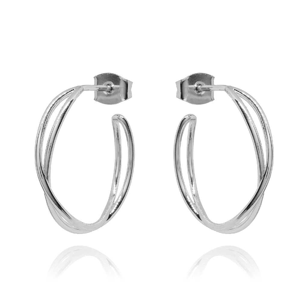 Mona Twist Hoop Earrings - silver