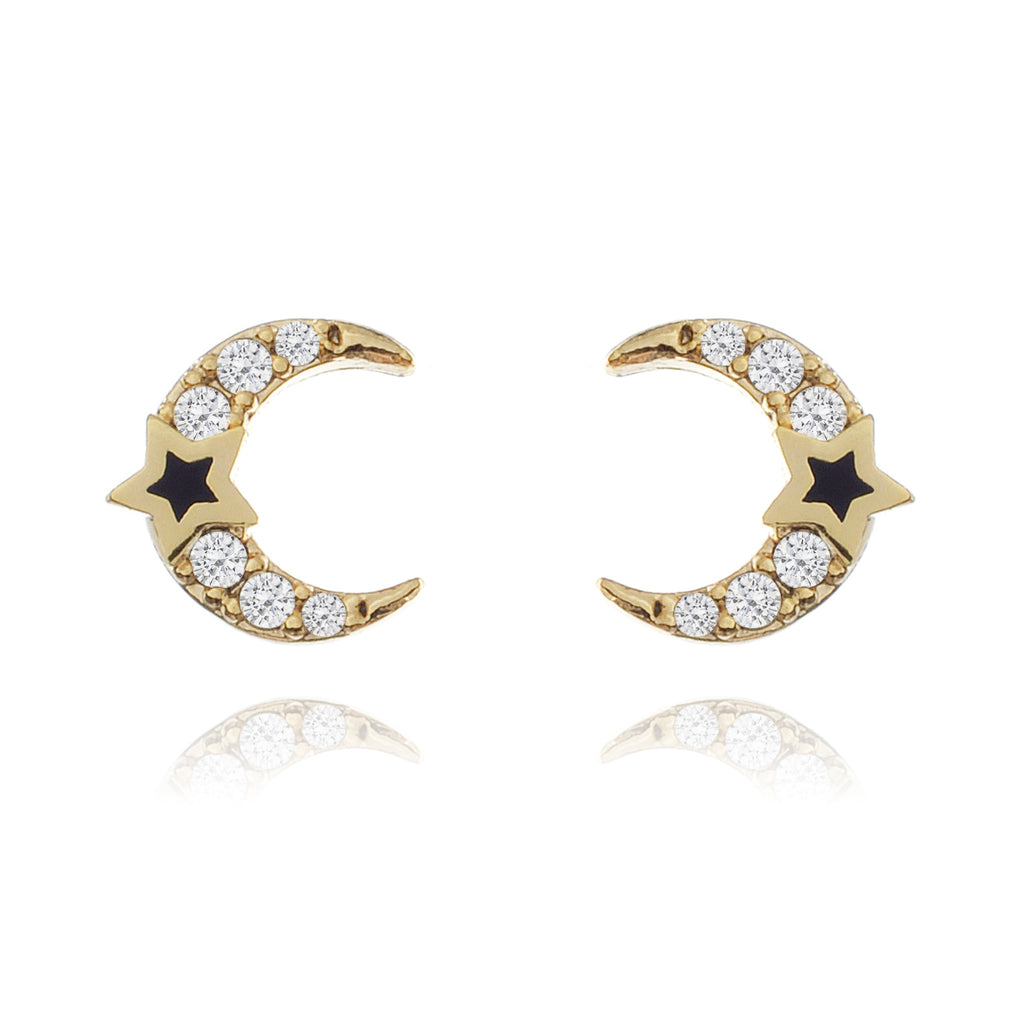 Moonlight Stud Earrings - gold