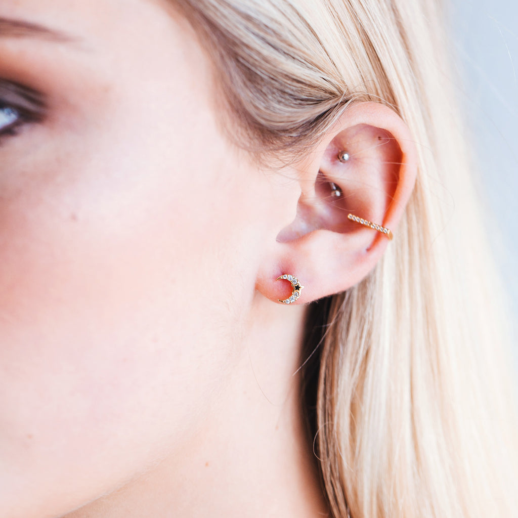 Moonlight Stud Earrings on model - gold