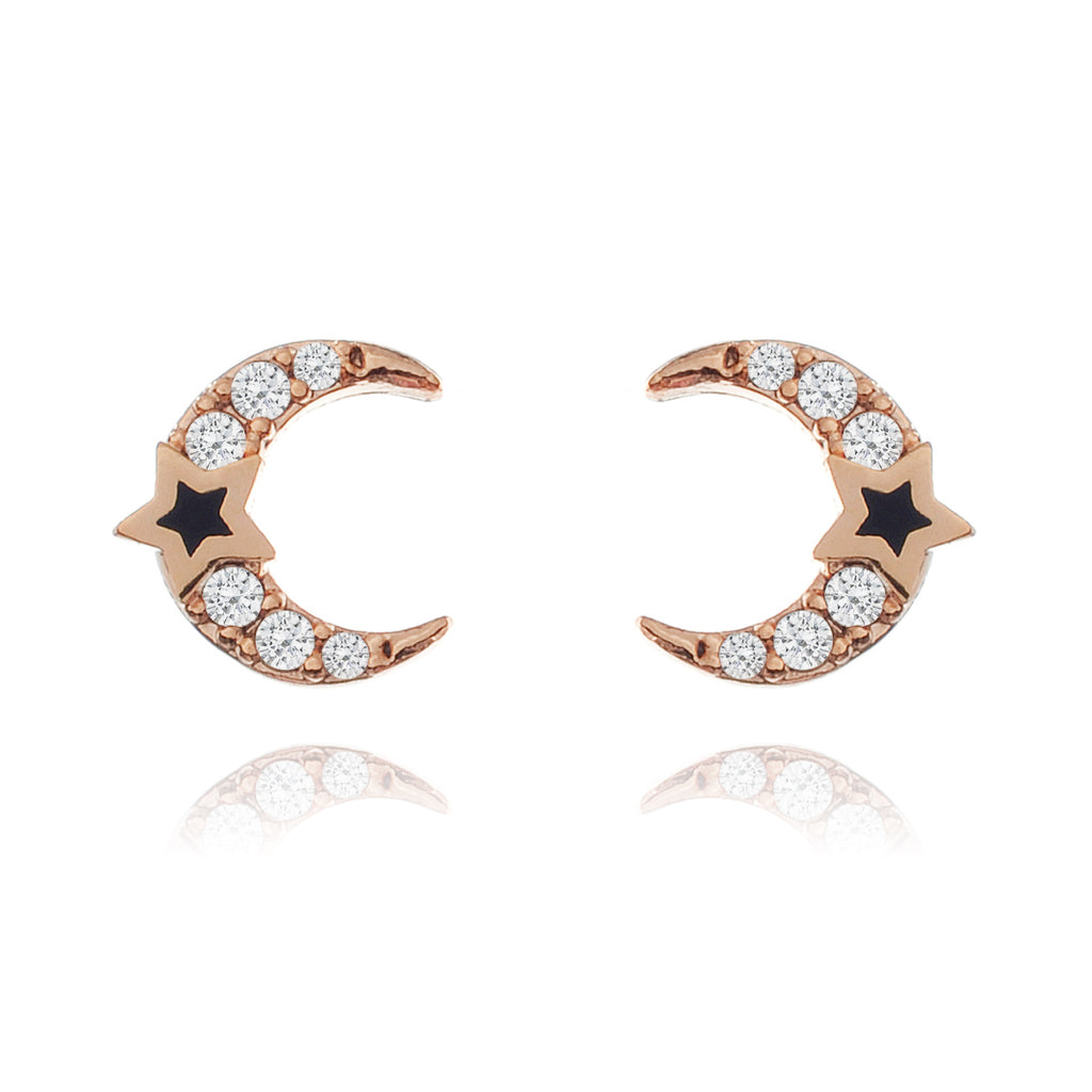 Moonlight Stud Earrings - rose gold