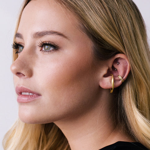 Motion Cuff Earrings on model 2 - gold