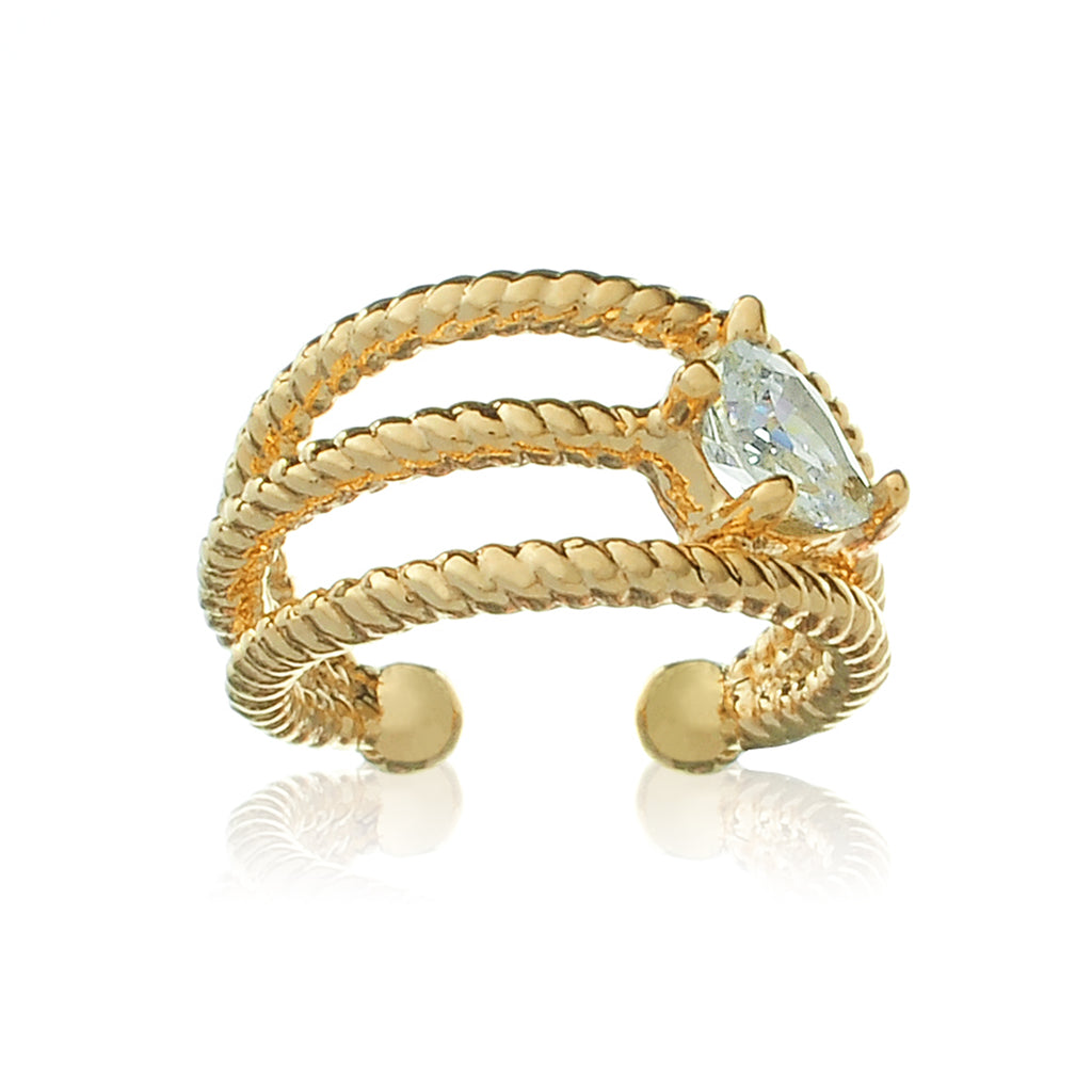 Ocean Gem Ear Cuff side view - gold
