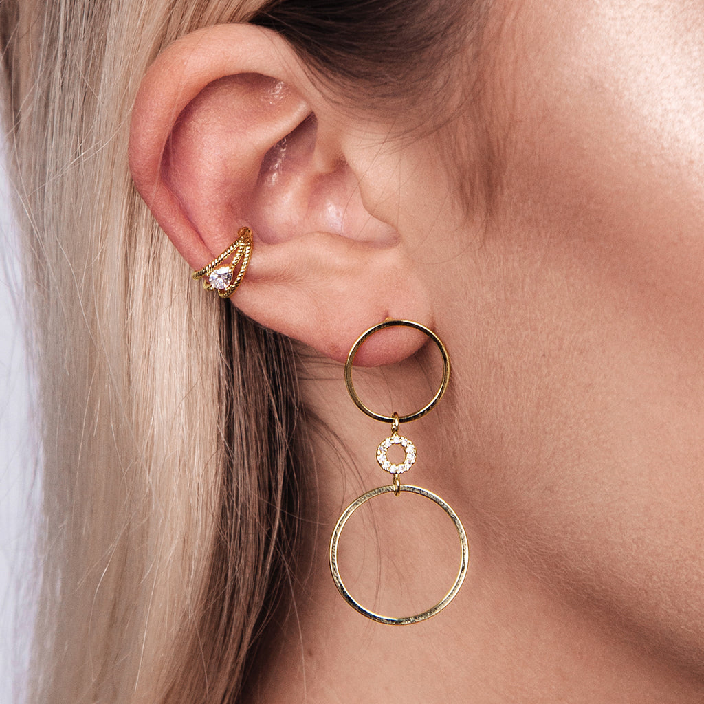 Ocean Gem Ear Cuff on model - gold